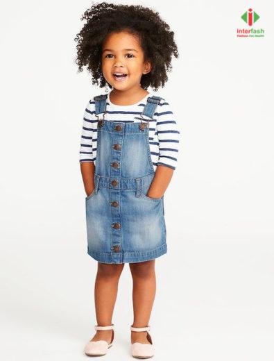 Nhà máy may váy bò jean trẻ em giá sỉ cực tốt